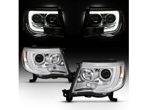For 2005-2011 Toyota Tacoma DRL LED Light Tube Chrome Projector Headlight Assembly L+R