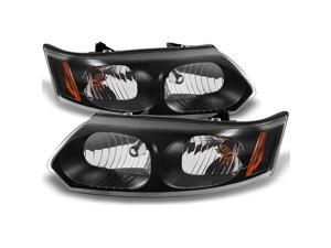 For Saturn Ion 4 Door Sedan Black Headlights Head Lamps Driver Left + Passenger Right Side Replacement