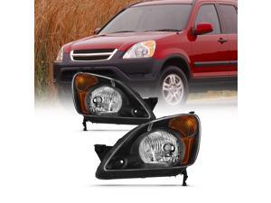 For 2002 2003 2004 Honda CR-V Black Housing [w/ Amber Corner Lamp] Headlights Driver+Passenger Side Replacement