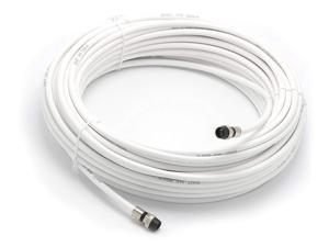 100' Feet, White RG6 Coaxial Cable (Coax) with weather proof connectors
