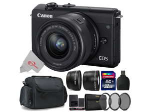 Canon EOS M200 24.1MP Mirrorless Digital Camera Black with 15-45mm + Top Accessory Kit