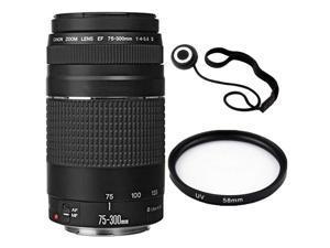 Canon EF 75-300mm f/4-5.6 III Lens Bundle for Canon EOS Rebel T6i, T6s, T6, T5i, T5, T4i, T3i, T3, T2i, SL1, 7D Mark II, 7D, 80D, 70D, 60D, 50D, 40D, 30D, 20D SLR Cameras