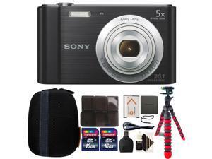 Sony Cyber-shot DSC-W800 Digital Camera (Black) with 32GB Accessory Bundle
