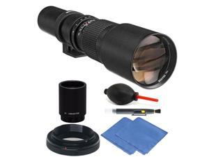 Bower 500mm / 1000mm f/8 Telephoto Lens for Canon EOS 80D 70D 60D + 2X Converter + Accessory Kit