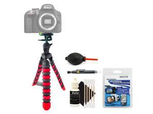 Flexible Tripod + Top Cleaning Accessory Kit for Nikon D500 and D5300