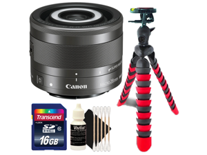 Canon EF-M 28mm f/3.5 Macro IS STM Lens with Two 16GB Memory Cards