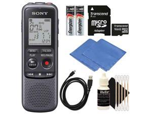 SONY ICD-PX240 Mono 4GB Digital Voice Recorder with 16GB MicroSD Memory Card + Cleaning Kit
