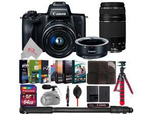 Canon EOS M50 Mirroless Digital Camera with 15-45mm + EOS M Adapter + 75-300mm Lens Bundle