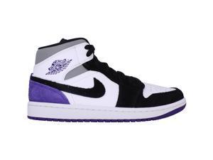 Nike Air Jordan 1 Mid SE White/Court Purple-Black 852542-105 Men's Size 7.5 Medium