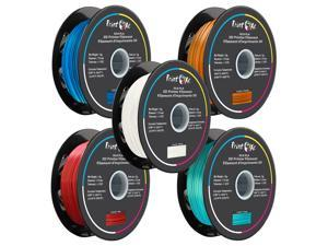 PrintOxe® 3D PLA like SILK Filament 5 Packs of Blue / Orange / White / Red / Green Colours for 3D Printers 1.75 mm Diameter Each Weight 1 Kg Net on Spool (2.2 LBs) Dimensional Accuracy +/- 0.03 mm