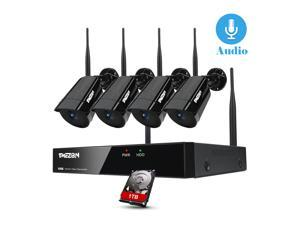[ Expandable 8CH ] TMEZON Wireless Security Camera System with 1TB Hard Drive with One-Way Audio, 8 Channel NVR 4Pcs 1080P 2.0MP Night Vision WiFi IP Security Surveillance Cameras Home Outdoor