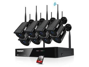 TMEZON 1080P Wireless Security Camera System with 1TB Hard Drive, 8CH NVR 8Pcs Outdoor WiFi Surveillance Camera with Night Vision, Waterproof, Motion Alert, Remote Access - Black