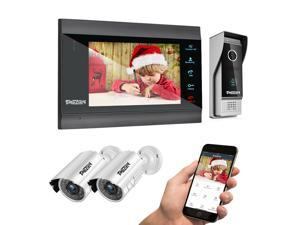 TMEZON 1080P Wireless WIFI Video Door Phone, IP Doorbell Intercom Entry System 7 Inch LCD Monitor with 2x1080P Wired CCTV Camera Night Vision, Support Remote Unlock Door Release,Record,Snapshot