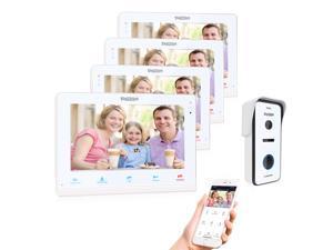 TMEZON Video Doorphone Intercom Doorbell System IP 4 Montior with 720P HD Wired Doorbell Camera 10 inch Wireless/Wifi Night Vision, Remote unlock,Talk and view, Record,Snapshot via Smartphone