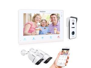 "TMEZON 10"" Wireless/Wifi Smart IP Villa Video Door Phone Intercom System Doorbell Entry System,1x IP Monitor,1x720P Wired Doorbell Camera & 2x CCTV Camera, Remote unlock,Talk and View,Snapshot"