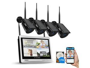 """TMEZON 1080P Wireless Security Camera System 1TB HDD, 4 Channel 4CH Wireless WiFi Security Camera System 2.0MP Outdoor Home IP Cameras Video Surveillance With 12"""" Monitor NVR"""