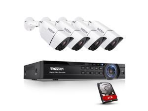 TMEZON 4K Ultra HD Security Cameras System, 4 Channel H.265+ 4K (3840x2160) Video DVR with 2TB Hard Drive 4 x 4K (8.0MP) IP66 Weatherproof Bullet Surveillance Cameras, 100ft Night Vision, Motion Alert