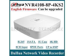 US Stock Dahua NVR4108-8P-4KS2 8CH Smart 1U 8PoE 4K&H.265 Lite Network Video Recorder