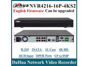 US Stock Dahua NVR4216-16P-4KS2 16 Channel 1U 16PoE 4K&H.265 Lite Network Video Recorder