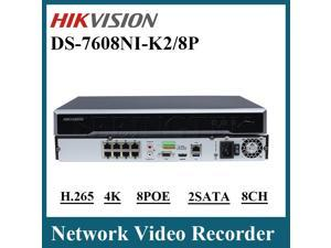 Hikvision Original DS-7608NI-K2/8P Embedded Plug & Play 4K NVR 8MP H.265 Network Video Recorder 8 PoE HDMI at up to  (3840x2160) Support VCA detection alarm and VCA search Upgradable with US firmware