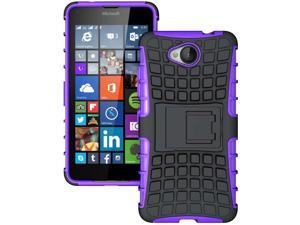 PURPLE GRENADE GRIP RUGGED SKIN HARD CASE COVER STAND FOR MICROSOFT LUMIA 650