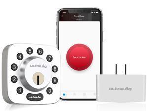 Ultraloq U-Bolt Bluetooth Enabled Keypad Smart Deadbolt + WiFi Bridge, Satin Nickel, Compatible with Alexa, Google Home, IFTTT (Non-Fingerprint Version)