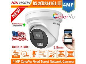 Hikvision 4MP ColorVu 24/7 Full Time Color Night DS-2CD2347G1-LU 2.8mm Wide Angle PoE  Outdoor IP66  Waterproof Turret Network H.265+ IP Security Camera 120db WDR with Built-in Mic Audio SD Card Slot
