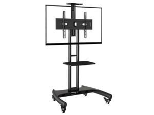 """OLLICON Mobile Height Adjustable 32-65"""" Flat Panel LED LCD Television Mount Stand Cart with Accessory Shelf & Locking Casters"""