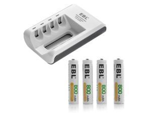 EBL 4pcs 800mAh AAA Batteries + Battery Charger for AA AAA Ni-MH Ni-CD Rechargeable Battery