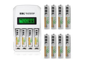 EBL 12pcs 1100mAh AAA Battery + Smart LCD Battery Charger for AA AAA Ni-MH Ni-CD Rechargeable Batteries