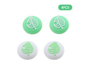 Thumb Grip Caps, 4 PCS Animal Crossing Tree Leaf Soft Silicone Joystick Cover for Nintendo Switch Controller (Green & White)