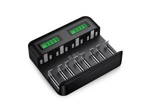 EBL LCD Universal Battery Charger for Rechargeable Batteries Ni-MH AA/ AAA/C/D Batteries with 2A USB Port, Type C Input, Fast AA AAA Battery Charger