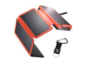 IEsafy Solar Charger 26800mAh Solar Power Bank + 4 Foldable Solar Panels and 2 High-Speed Charging Ports Battery Charger for Samsung iPhone Smartphones Tablets with LED Flashlight, Orange
