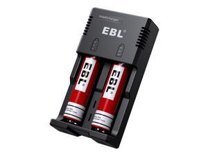 EBL 2 Pack 3000mAh 18650 Rechargeable Batteries + Smart Battery Charger for 26650 18650 17500 14500 16340 Li-ion Ni-MH/Ni-Cd AA/AAA/C Replacement Battery