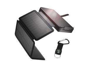 IEsafy Solar Charger 26800mAh Solar Power Bank + 4 Foldable Solar Panels and 2 High-Speed Charging Ports Battery Charger for Samsung iPhone Smartphones Tablets with LED Flashlight, Black