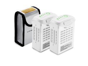 Powerextra  2- Pack Phantom 4 Series LiPo Intelligent Flight Battery(15.2V 5350 mAh) + Battery Safe Bag Replacement for DJI Phantom 4 Series Drones