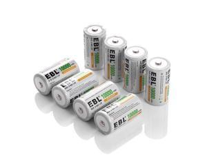 EBL 8 Pack Size D Battery 10000mAh High Capacity High Rate Ni-MH Rechargeable Batteries