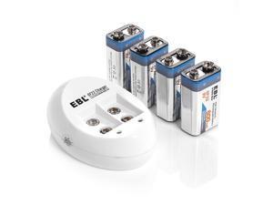 EBL 4 Pack 6F22 Lithium Battery 600mAh 9V Li-ion Rechargeable Batteries + USB Battery Charger for 9V Li-ion Rechargeable Batteries Battery 9 Volt 6F22