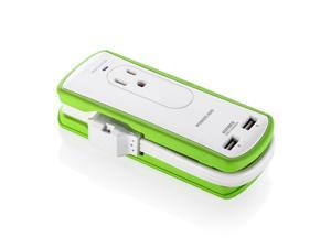 Poweradd Small Power Strip with USB, Travel Surge Protector 300J, 2AC Outlets & 2 USB (5 V/3.4 A Max) 1560W, 1ft Wrapped Extension Cord with Flat Plug - UL Listed