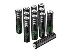 EBL 12 Pack AAA Rechargeable Batteries 1.2V 500mAh Triple A NiCD Battery for Solar Garden Light