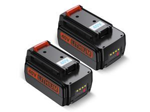 Powerextra 2 Pack 40V MAX 3000mAh Replacement Battery for Black&Decker LBX2040 LBXR36 Power Tools Lithium Ion Battery