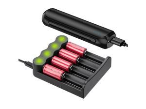4 Slots LED Battery Charger for 16340 16650 18500 20700 26650 14500 18650 Li-ion Rechargeable Batteries