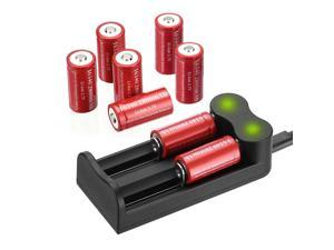 8 Pack 3.7V CR123A Rechargeable Battery 2800mAh 16340 Battery With 2   Slot LED Battery Charger For Torch Laser Camera Flashlight