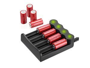 8 piece 2800mAh CR123A 16340  3.7V Li-ion Rechargeable Batteries With 4 Slot LED Battery Charger for Torch Camera Flashlight