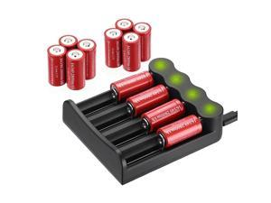 12 Pack 3.7V 2800mAh CR123A 16340 Battery + 4 Slot LED Battery Charger for 16340 16650 18500 20700 26650 14500 18650 Li-ion Rechargeable Batteries