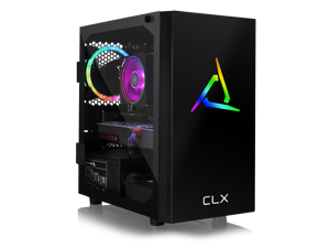 CLX SET Gaming PC - AMD Ryzen 7 3700X 3.6GHz 8-Core, 16GB DDR4 3000, Radeon RX 5700 XT 8GB, 480GB SSD + 3TB HDD, WiFi, Black Mini-Tower RGB,  Windows 10 Home