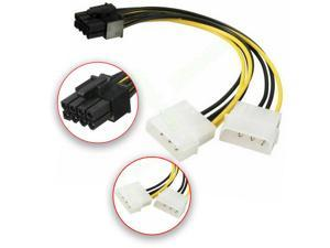 Dual 4 Pin Molex IDE to 8 Pin PCI Express Power Cable PCI-E Adapter