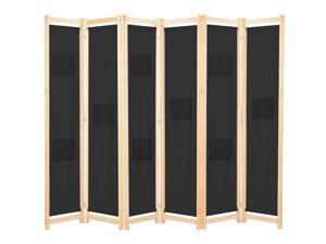 "vidaXL 6-Panel Room Divider Wooden Frame Black 94.5"" Fabric Privacy Screen"