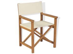 vidaXL Solid Teak Wood Director's Chair Folding Garden Outdoor Fish Camp Seat