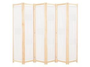 "vidaXL 6-Panel Room Divider Wooden Frame Cream 94.5"" Fabric Privacy Screen"